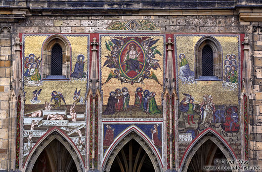 Venetian mosaic above the original main entrance portal (Zlatá brána) to St. Vitus Cathedral