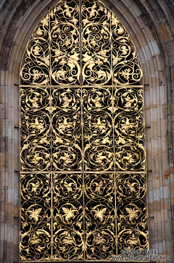 Window at St. Vitus Cathedral in Prague Castle