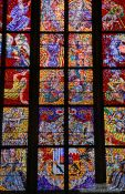 Travel photography:Glass window in the St. Vitus Cathedral, Czech Republic