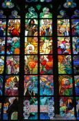 Travel photography:Glass window in the St. Vitus Cathedral by Alfons Mucha, Czech Republic