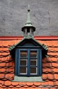 Travel photography:Roof detail of a house in Prague`s Golden Alley (Zlatá ulicka), Czech Republic