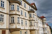 Travel photography:Facade in Prague`s Lesser Quarter, Czech Republic