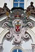 Travel photography:Facade detail on a building in Prague Castle, Czech Republic