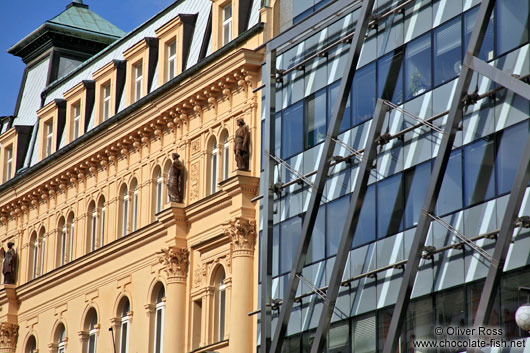Old-new contrast in Prague`s New Town