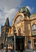 Travel photography:The `Representation House ´ (Obecní dům) with powder tower, Czech Republic