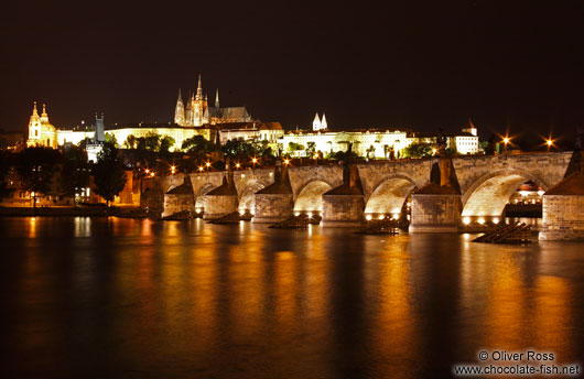 View of the Charles Bridge with Castle and Moldau (Vltava) river