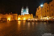 Travel photography:Prague`s old town square with Tyn church, Czech Republic