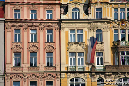 Facades on Prague`s Old town square