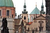 Travel photography:Skyline of Prague`s Old Town viewed from the Charles bridge, Czech Republic