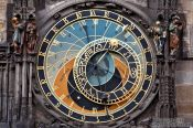Travel photography:Astronomical clock dial from 1410 by Mikuláš of Kadan and Jan Šindel on the old town square, Czech Republic
