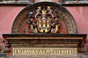 Travel photography:Facade detail on the city hall in Prague`s Old Town, Czech Republic