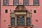Travel photography:Facade detail of Prague`s old city hall, Czech Republic