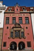 Travel photography:Facade of Prague`s old city hall, Czech Republic