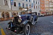 Travel photography:Vintage car in Prague`s Old Town, Czech Republic