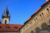 Travel photography:One of the spires of Prague`s Tyn church, Czech Republic