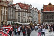 Travel photography:Prague`s old town square filled with tourists, Czech Republic