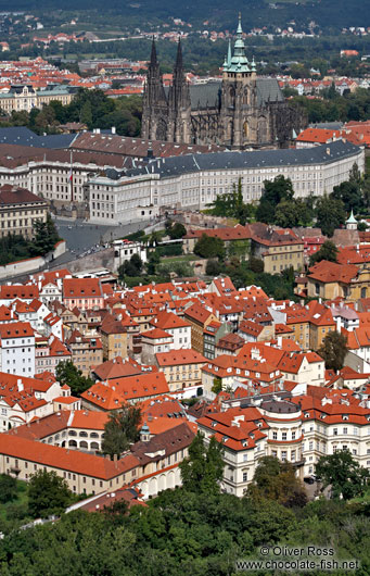 Panorama of Prague castle with St. Vitus Cathedral
