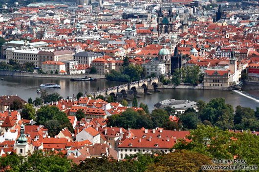 View of Charles bridge and the Moldau (Vltava) river
