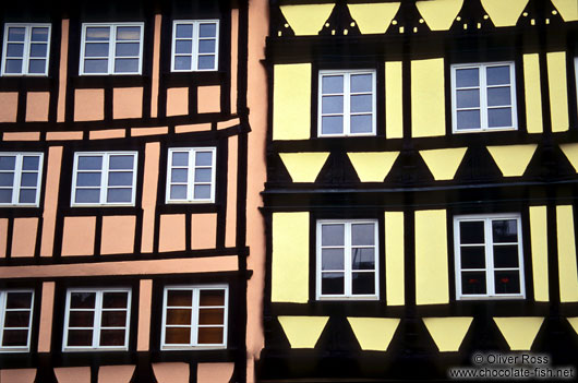 Facade of traditional houses in Strasbourg