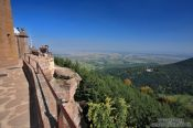 Travel photography:View from the Saint Odile monastery onto the Vosges mountains  and the Rhine valley, France