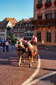Travel photography:Driving tourists in a horse cart around Obernai, France