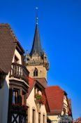 Travel photography:Obernai town hall and houses, France