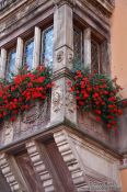 Travel photography:Facade detail of the Obernai town hall, France