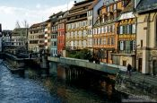 Travel photography:Houses along Strasbourg`s Ile River, France