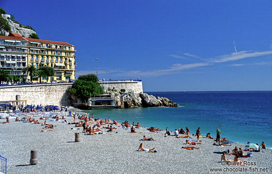 The municipal beach in Nice, Côte d`Azur