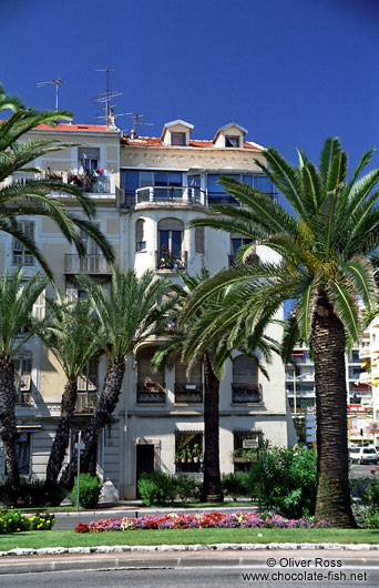 Houses along the promenade des Anglais in Nice