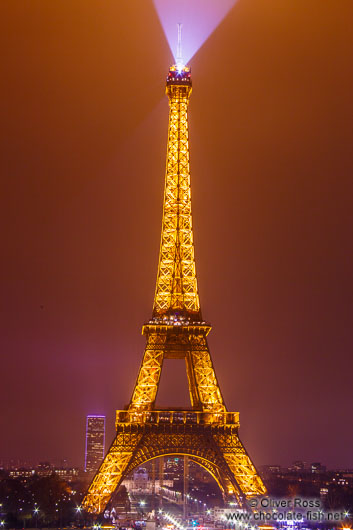 Paris Eiffel tower with Montparnasse tower by night