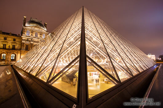 Glass pyramid at the Louvre Museum in Paris