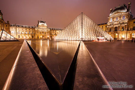 Paris Louvre Museum by night