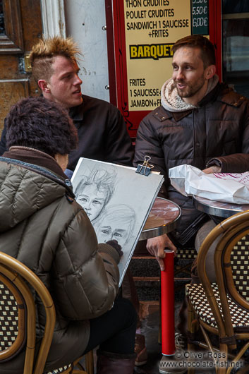 Having your portrait done by an artist in Paris´ Montmartre district
