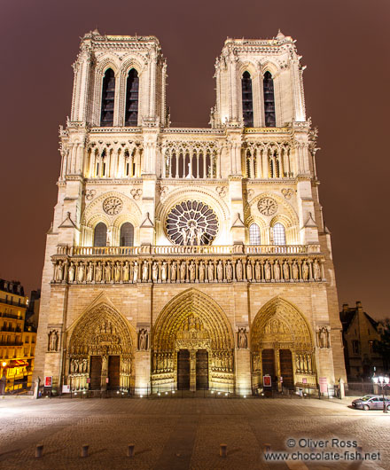 View of Notre Dame cathedral by night