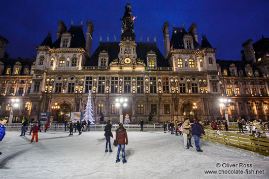 The Hotel de ville (city hall) with ice rink in Paris