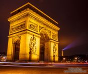 Travel photography:Paris Arc de Triomphe with the Eiffel Tower in the background, France