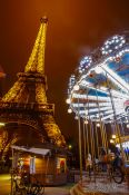 Travel photography:Paris Eiffel tower with carousel, France