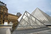Travel photography:Glass pyramids at the Paris Louvre museum, France