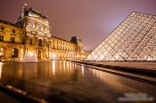 Travel photography:Paris Louvre Museum by night, France