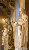 Travel photography:12th and 13th century sculptures in the Louvre museum in Paris, France
