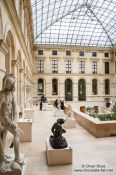 Travel photography:Sculptures inside the Paris Louvre museum, France