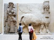 Travel photography:Assyrian hall in the Paris Louvre museum, France