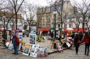 Travel photography:Artists display their work in Paris´s  Montmartre district, France