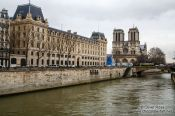 Travel photography:View of Notre Dame cathedral wih river Seine, France