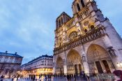 Travel photography:View of Paris Notre Dame cathedral at dusk, France