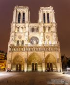 Travel photography:View of Notre Dame cathedral by night, France