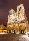 Travel photography:View of Paris Notre Dame cathedral by night, France