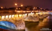 Travel photography:View of the Pont Neuf by night, France
