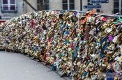 Travel photography:Paris bridge with padlocks, France